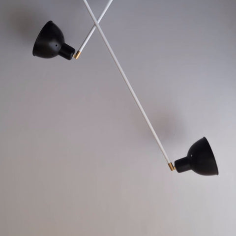 Contemporary Scandi Two-Arm Ceiling Light Fixture - The Black Steel