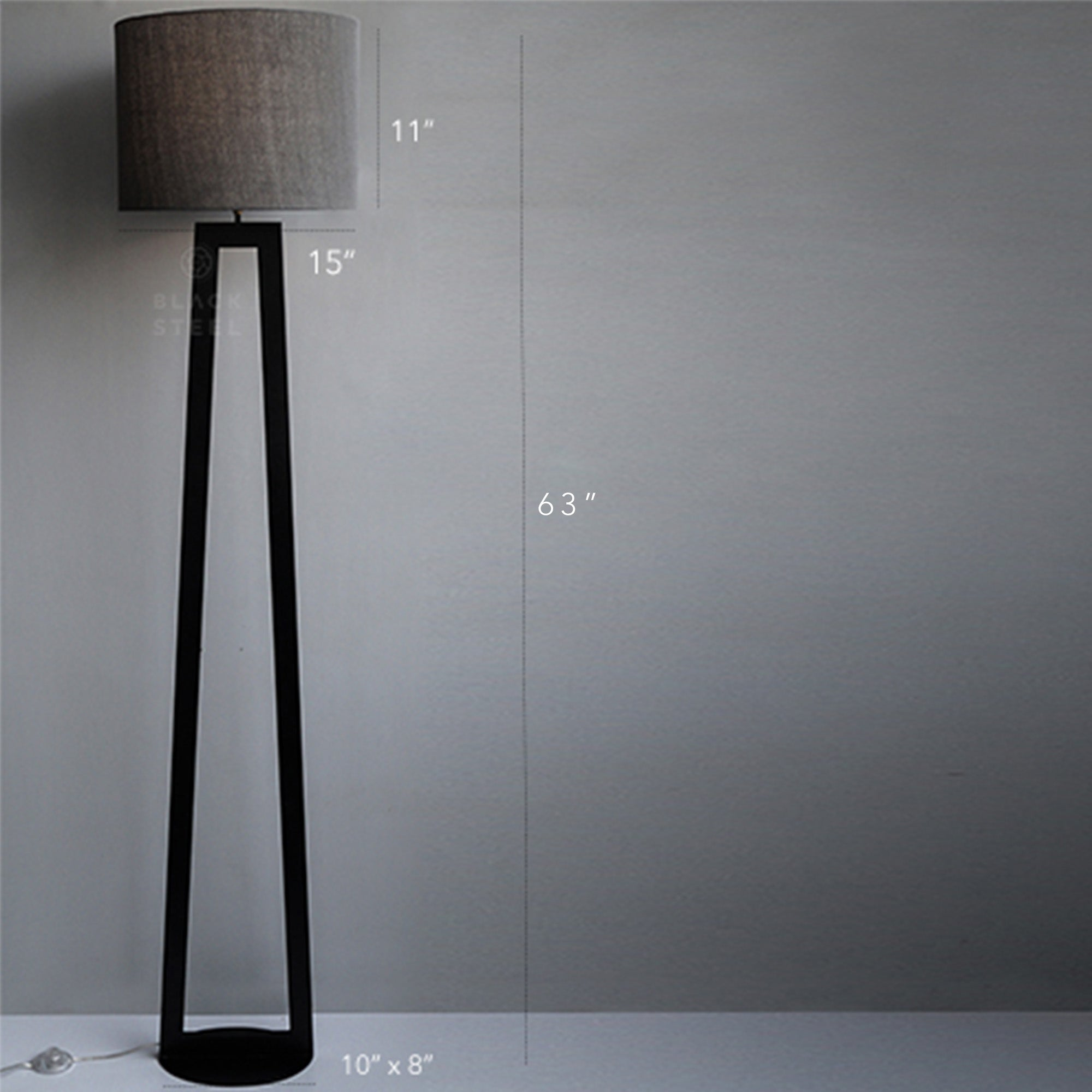 Oval Base Geometric Tower Matte Black Iron Floor Lamp 40w Brass Antique Holder