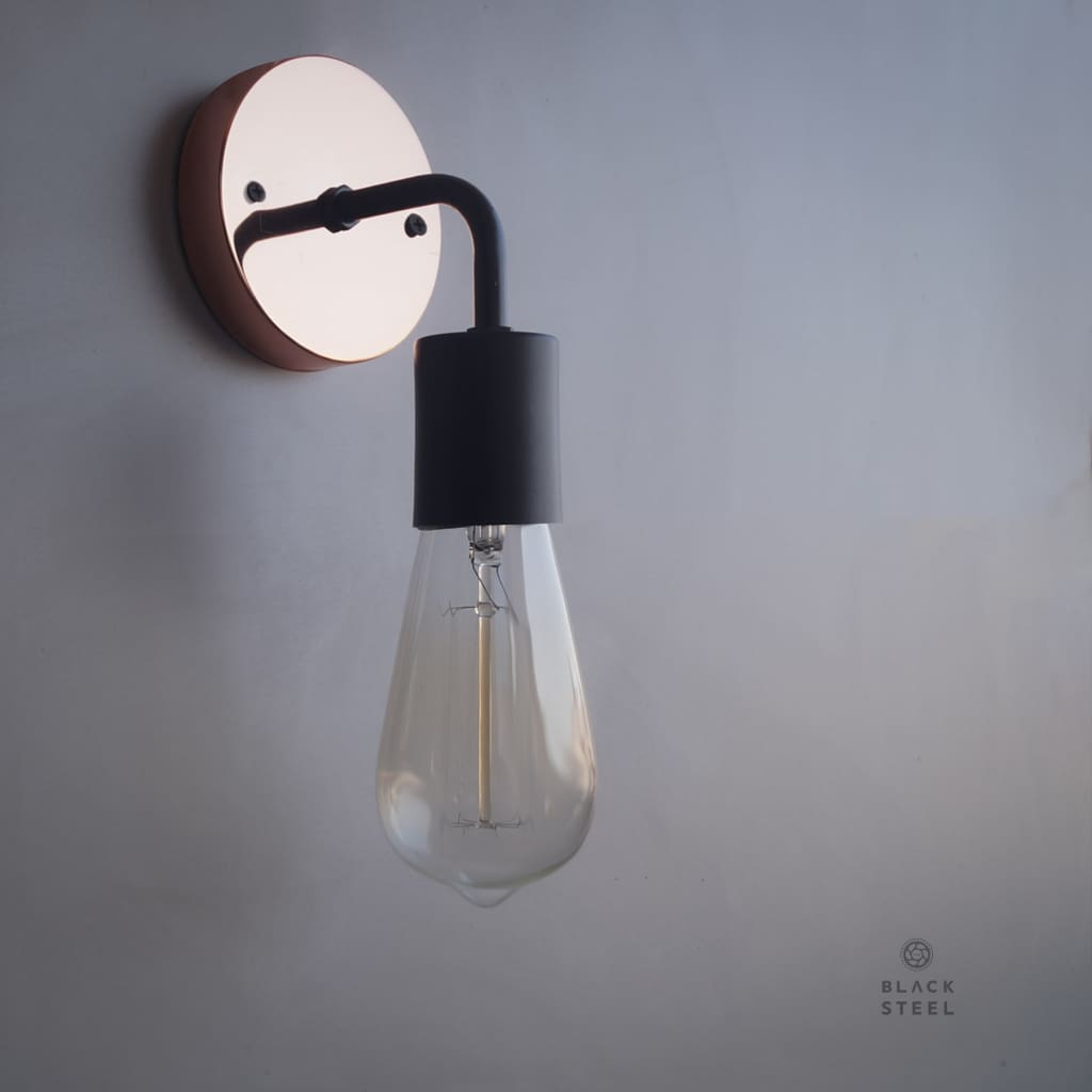 CWS112 Copper Baseplate Black Wall Sconce