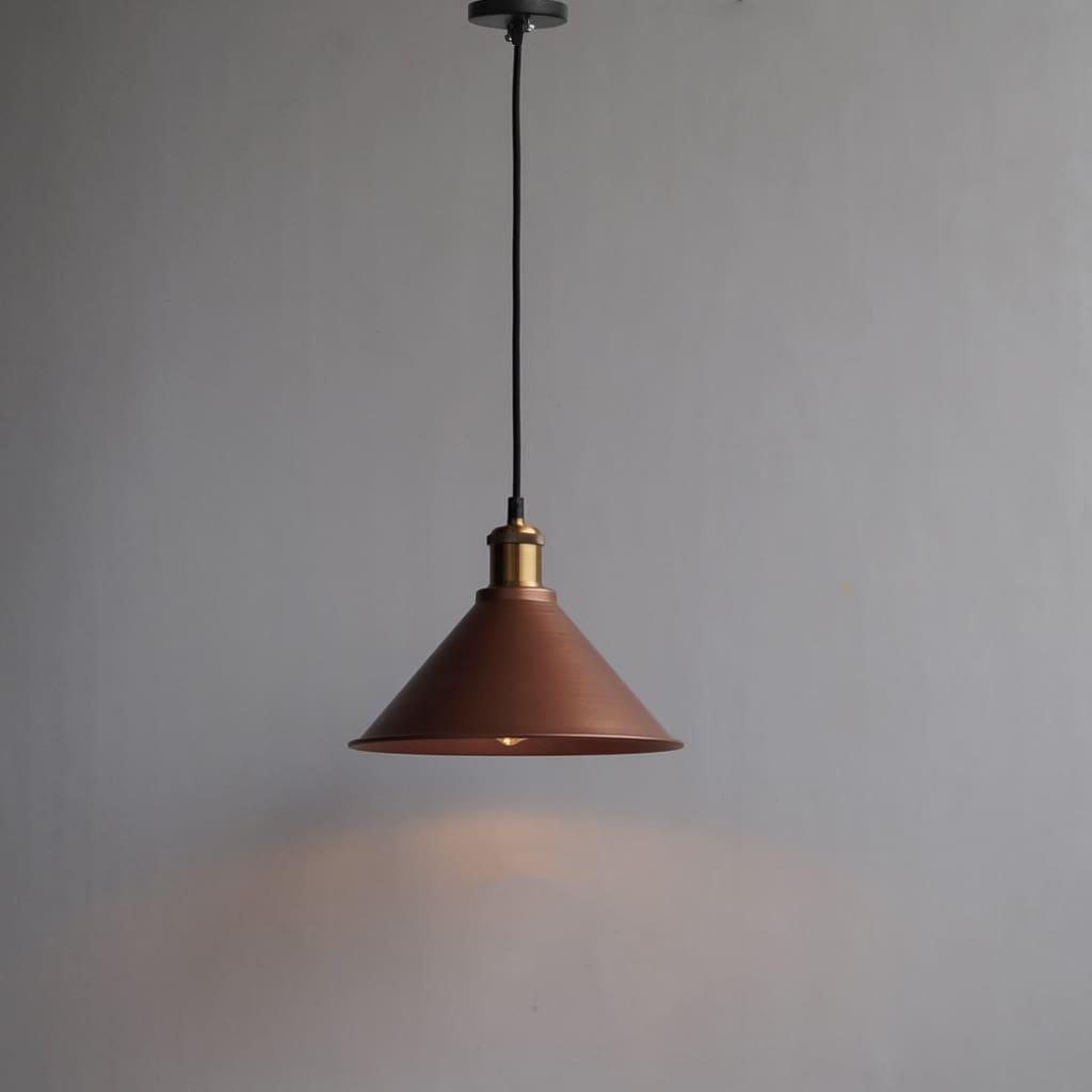 Copper Tapered Cone Decorative Pendant Light 10Inch