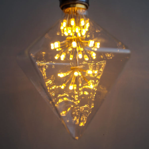 D120 Diamond Shape LED Starry Light Filament Bulb - The Black Steel