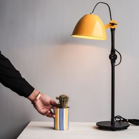 De Stijl 1917 Inspired Swing-Arm Yellow Decorative Desk Lamp - The Black Steel