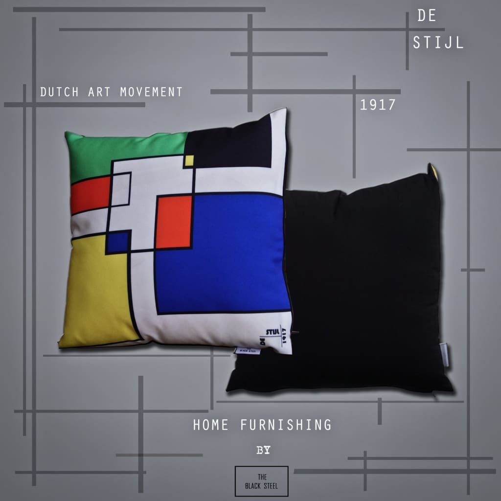 De Stijl Abstract Geometric Design Cushion - Set of 2 - The Black Steel
