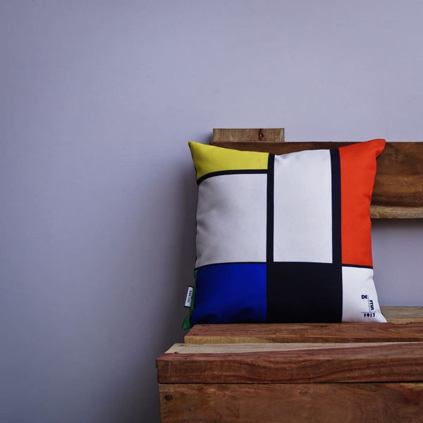 De Stijl Abstract Line Pop Art Cushion - Set of 2 - The Black Steel
