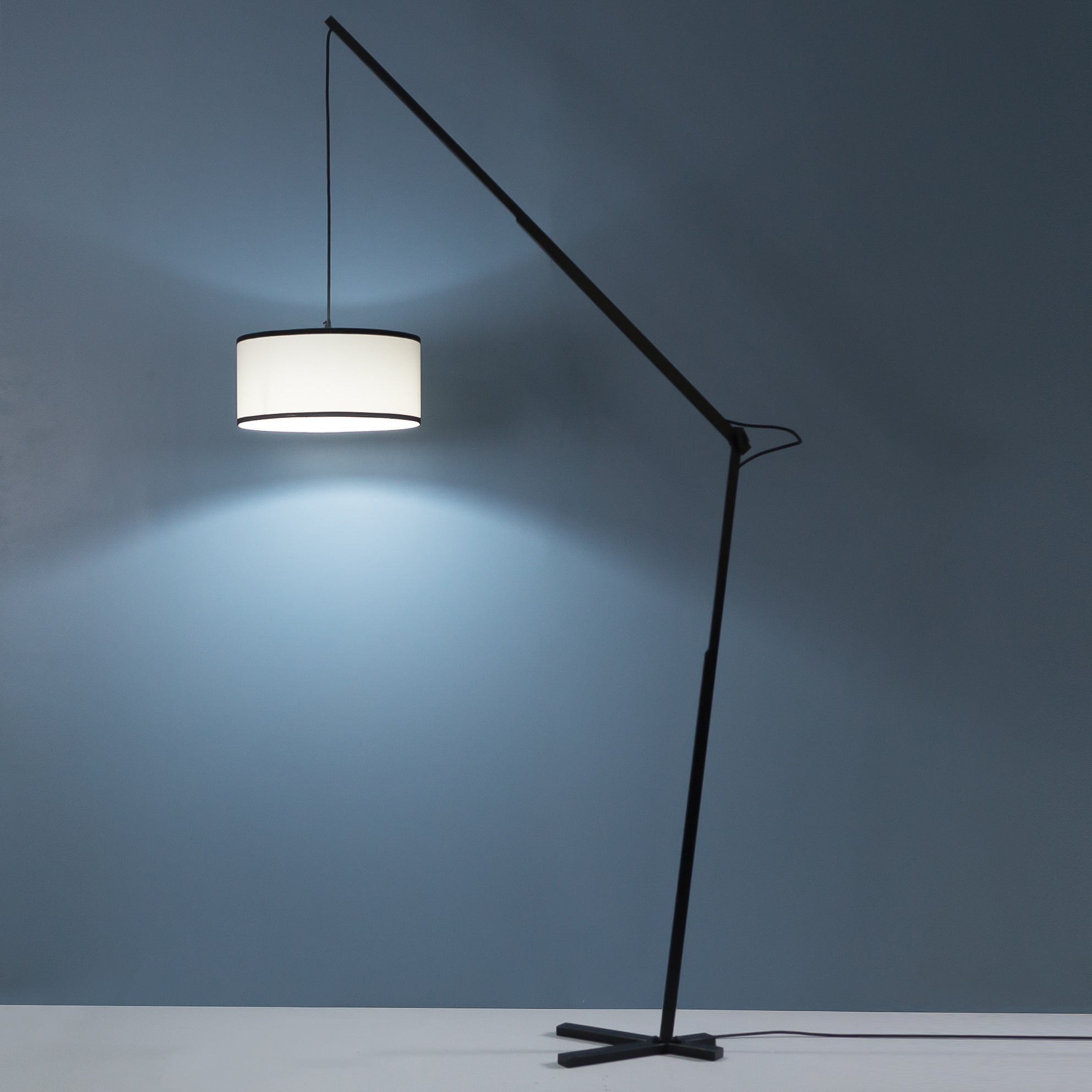 Black Slim-Arm Tall Industrial Floor Lamp