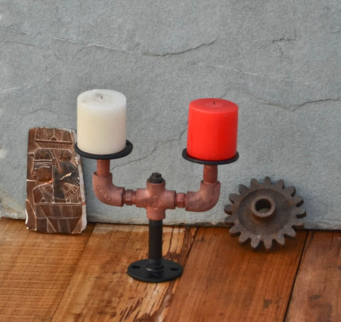 Dine-in Industrial Candle Holder - The Black Steel