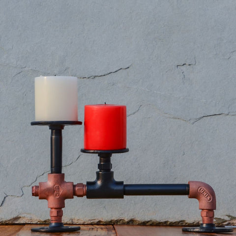 Duo Circuit Candle Holder - The Black Steel