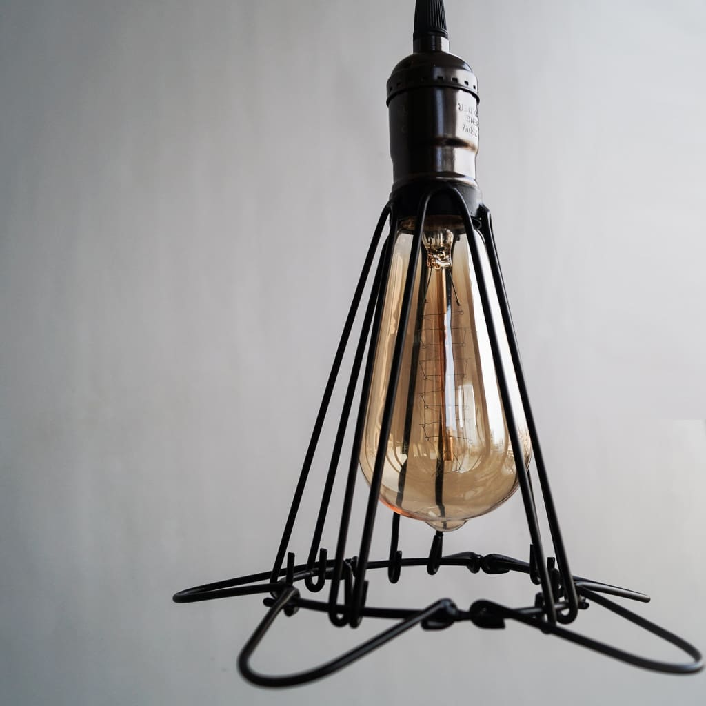Edison Cage Pendant Industrial Light High Gloss Finish E27 Holder With Switch - The Black Steel
