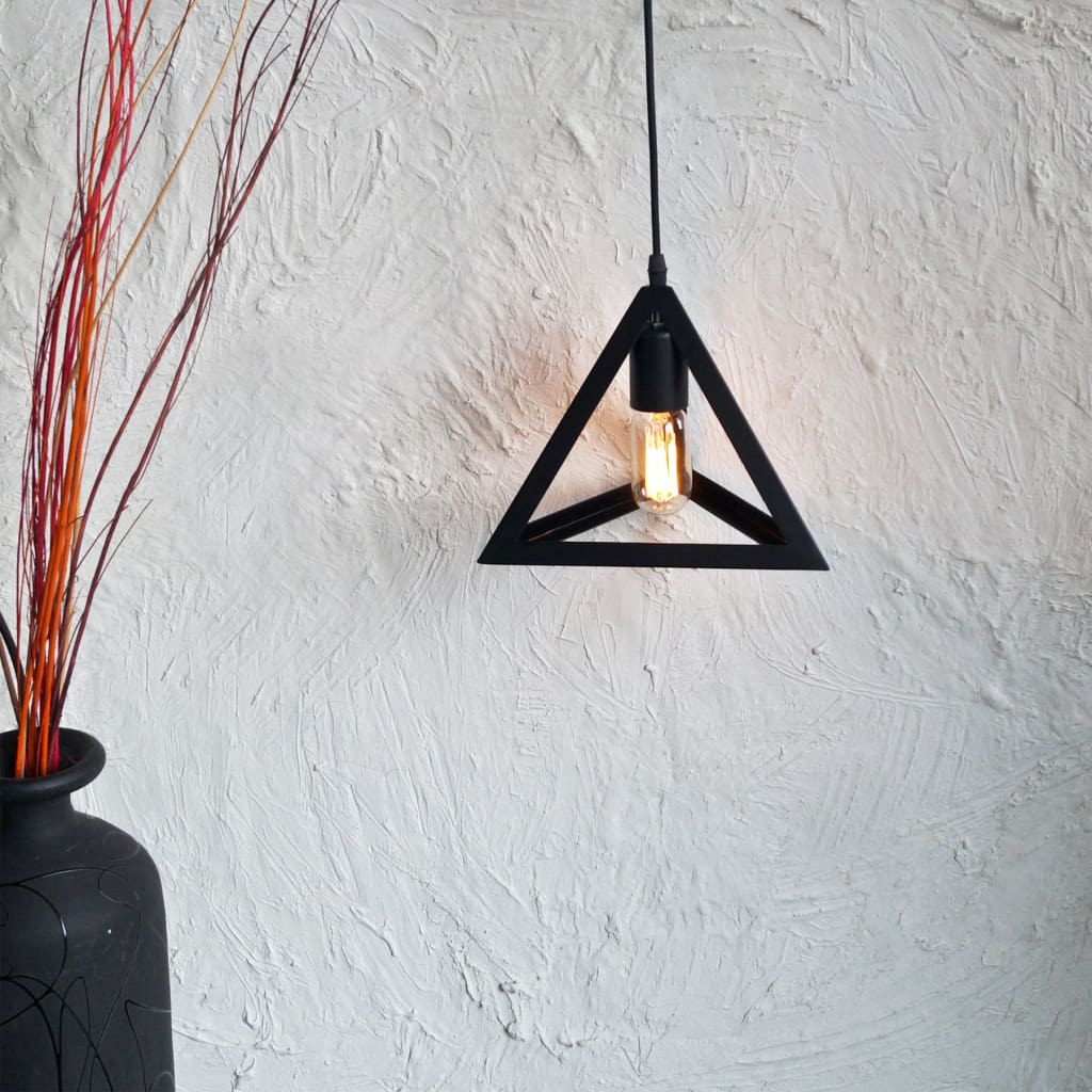 Equilateral Black Industrial Eclectic Interior Design Pendant Lamp - The Black Steel