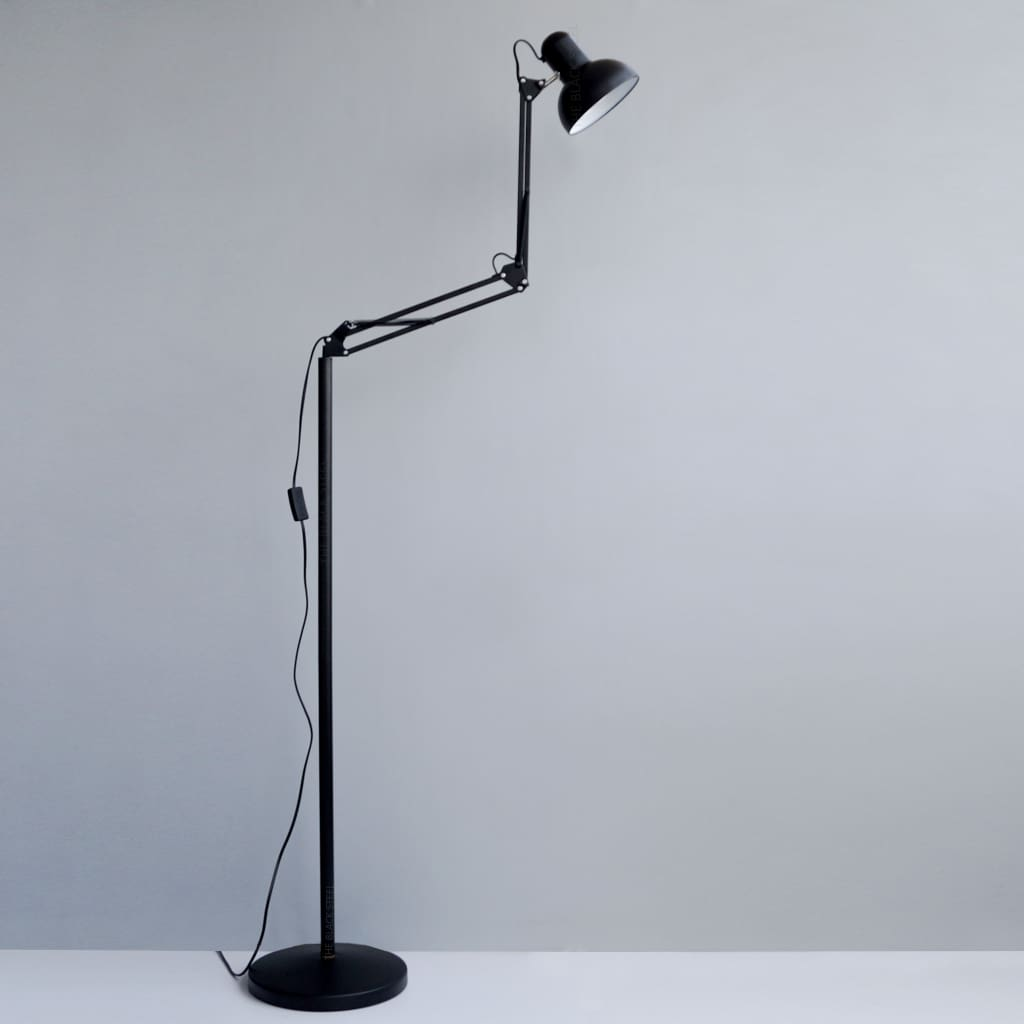 Flamingo Black Swing-Arm Minimal Decor LED Floor Lamp