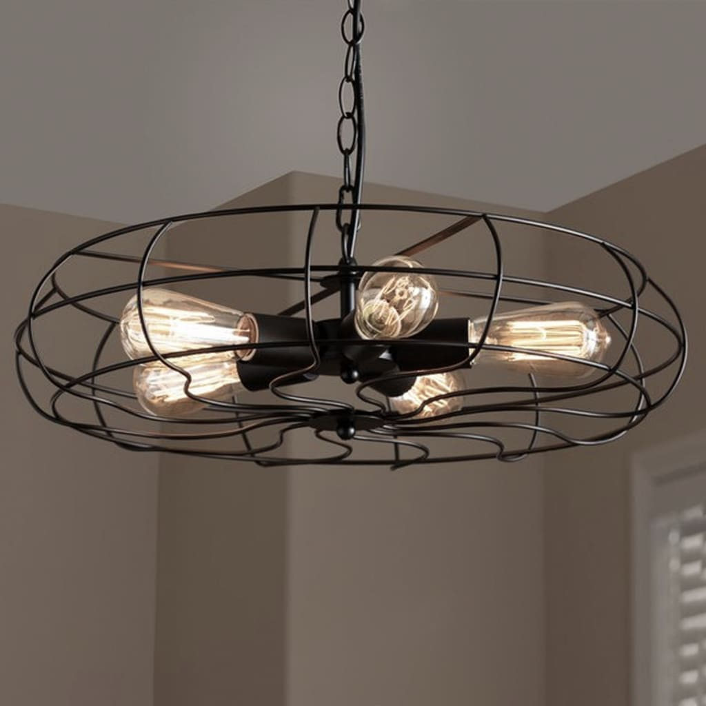 Flywheel Industrial Pendant Cage Lamp