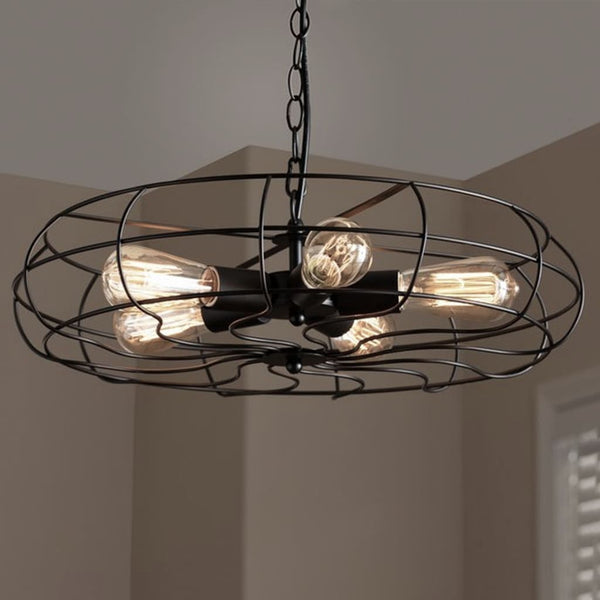 Flywheel Industrial Pendant Cage Lamp - The Black Steel