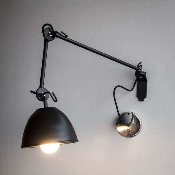 Galaxy Black Swing-Arm Wall Lamp - The Black Steel