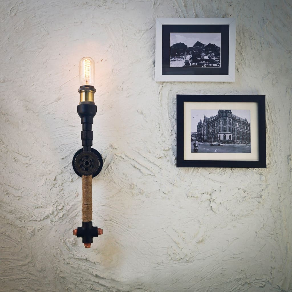 Gear Accent Industrial Rope Wall Lamp