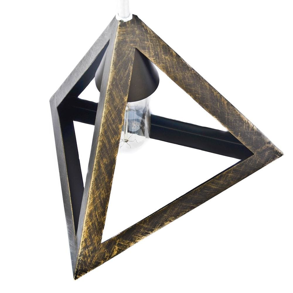 Gold Equilateral Industrial Eclectic Interior Design Pendant Lamp - The Black Steel
