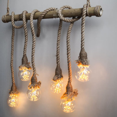 Handcrafted Bamboo Ceiling Rope Chandelier(6 Heads) - The Black Steel