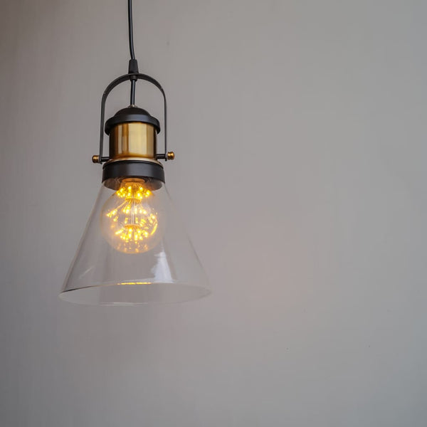 Industrial Pendant Light Conical Clear Glass - The Black Steel