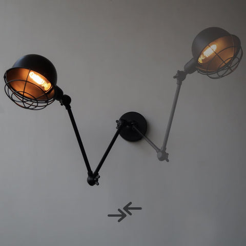 Industrial Retro Vintage Swing-Arm Wall Sconce - The Black Steel