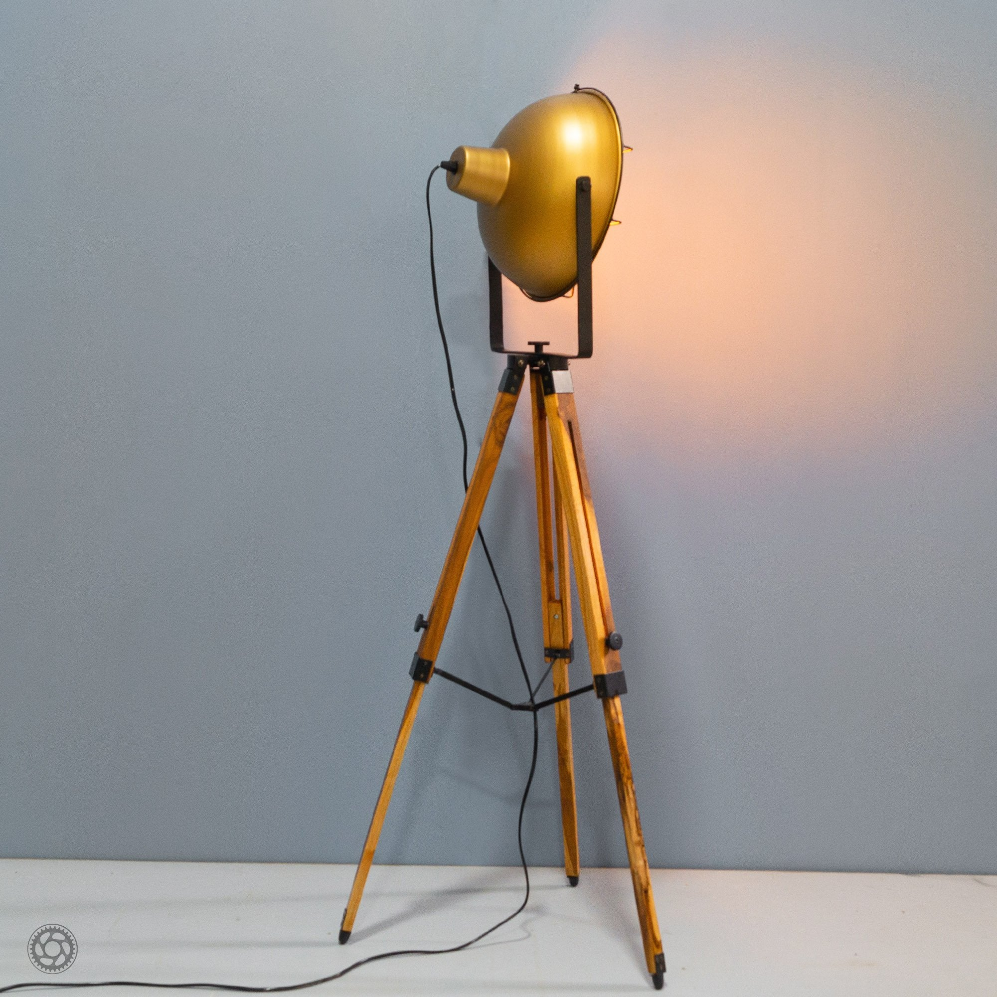 Barn Style Loft Metal and Wood Tripod Floor Lamp - The Black Steel