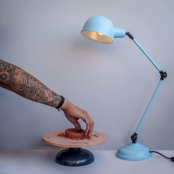 Laurent Arched Mid-Century Blue Desk Lamp - The Black Steel