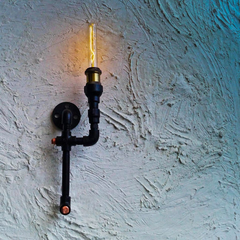 Low-Key Dawn Industrial Wall Lamp - The Black Steel