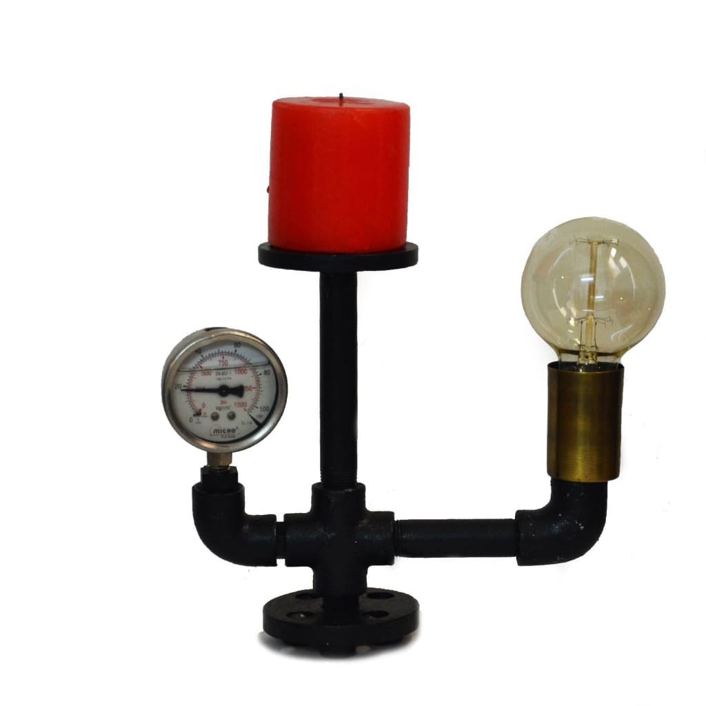 Lower Mount Gauge Pipe Industrial Lamp and Candle Holder - The Black Steel