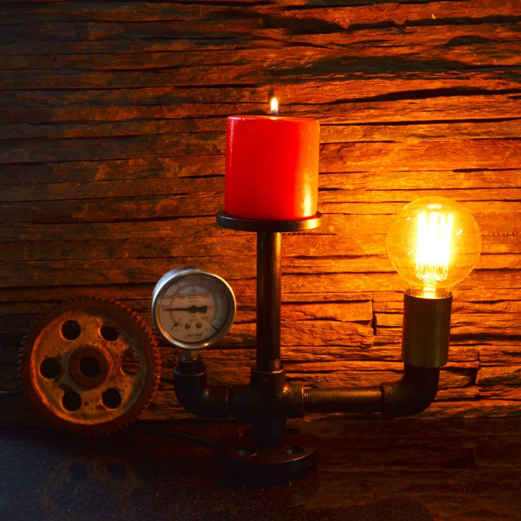 Lower Mount Gauge Pipe Industrial Lamp and Candle Holder