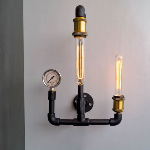 Machine Age Industrial 2-Light Wall Sconce - The Black Steel