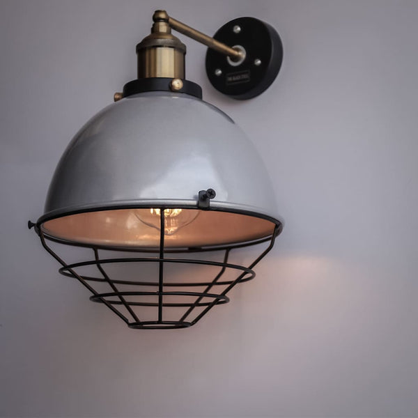 Metallic Silver Finish Industrial Retro Dome Wall Sconce - The Black Steel