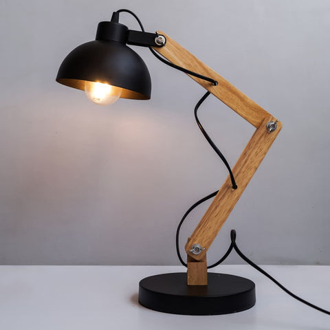 Mid-Century Essential Desk Lamp In Black Metal And Wood - The Black Steel