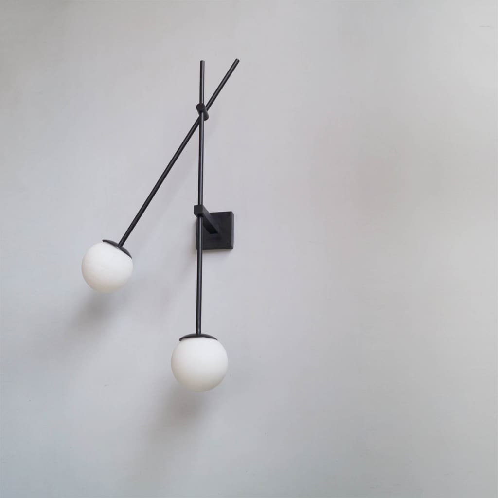 Minimalistic Frosted Glass Wall Light Fixture - The Black Steel