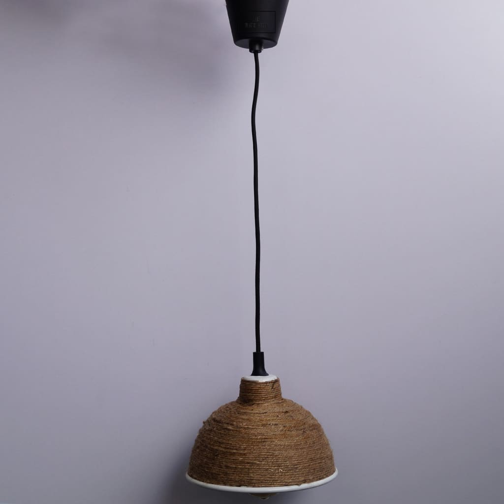 Modern Rope Industrial Style White Lamp Shade Pendant Lighting - The Black Steel