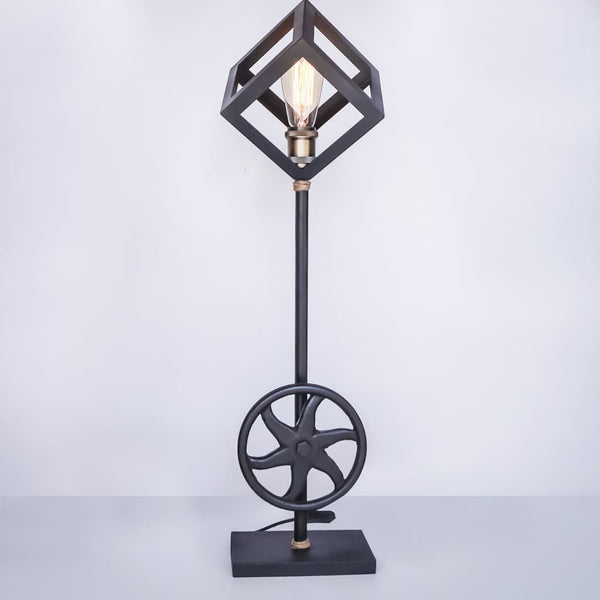 Modish Geometric Cube Standing Floor Lamp Metal Base With Brass Anitque E27 Holder - The Black Steel