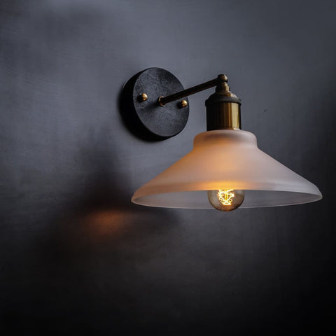Nordic Conical Glass Wall Sconce Frosted Shade - The Black Steel
