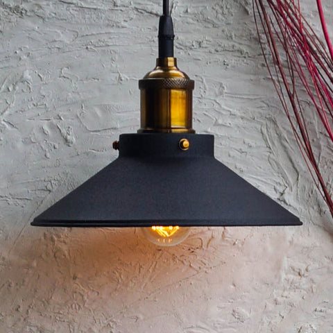 Nordic Conical Midnight Gold Industrial Ceiling Pendant Light - The Black Steel