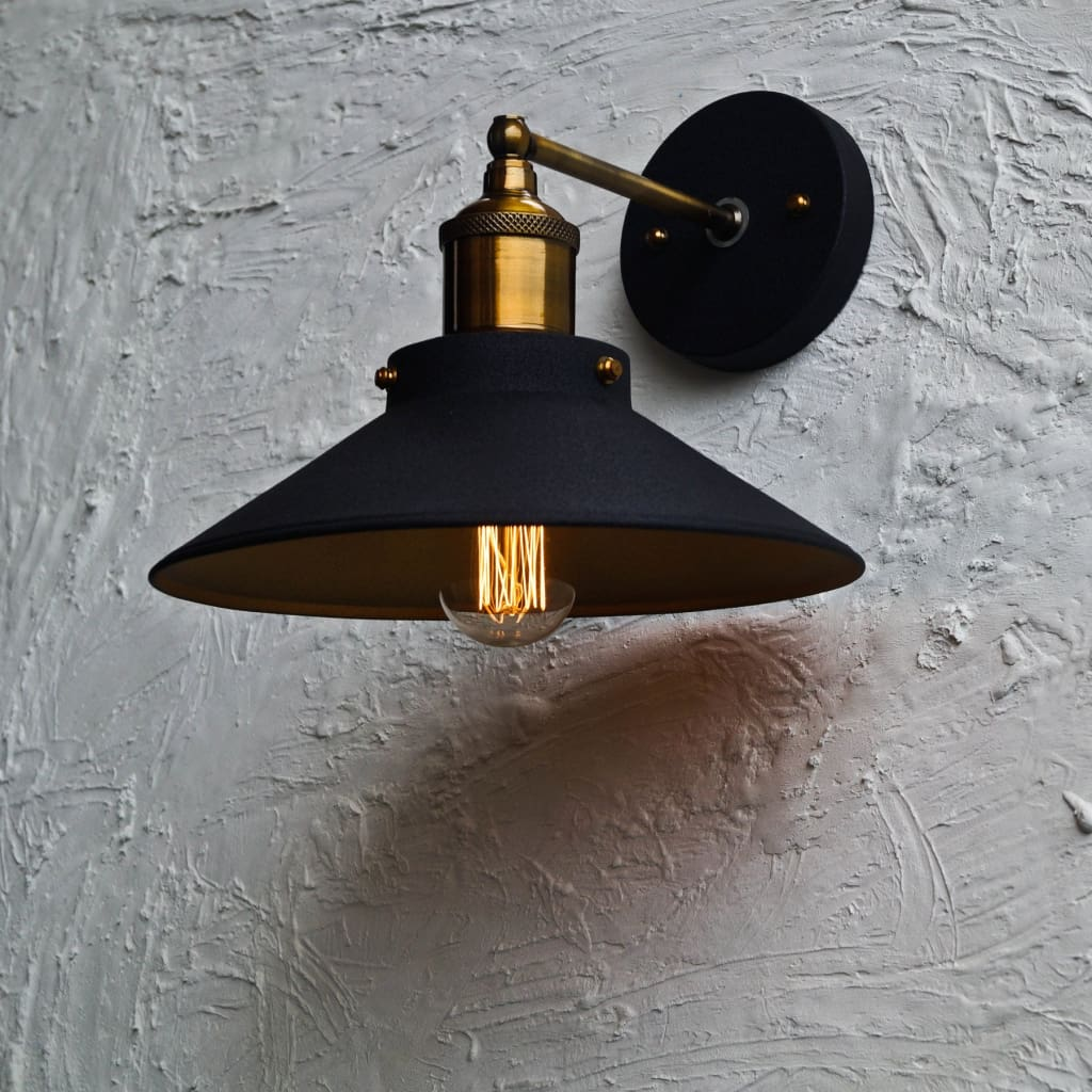 Nordic Conical Midnight Gold Industrial Wall Lamp - The Black Steel