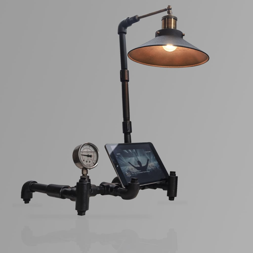 Nordic Industrial Table Lamp Tablet Stand