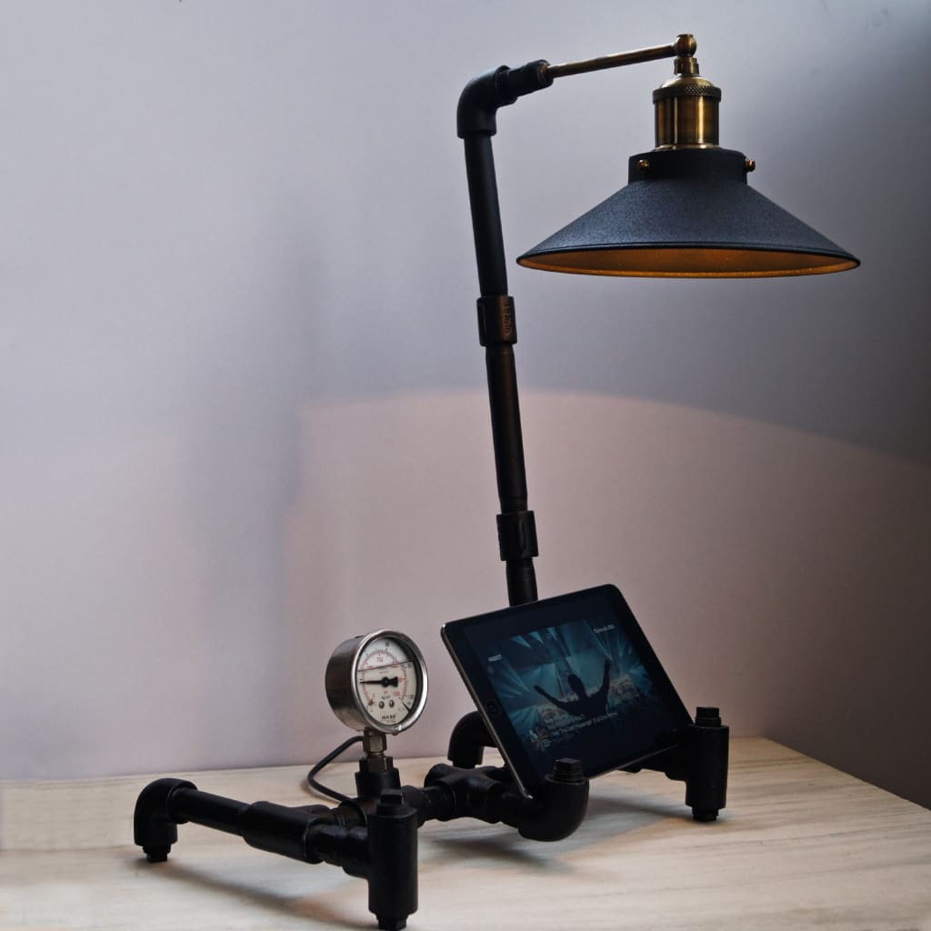 Nordic Industrial Table Lamp Tablet Stand - The Black Steel