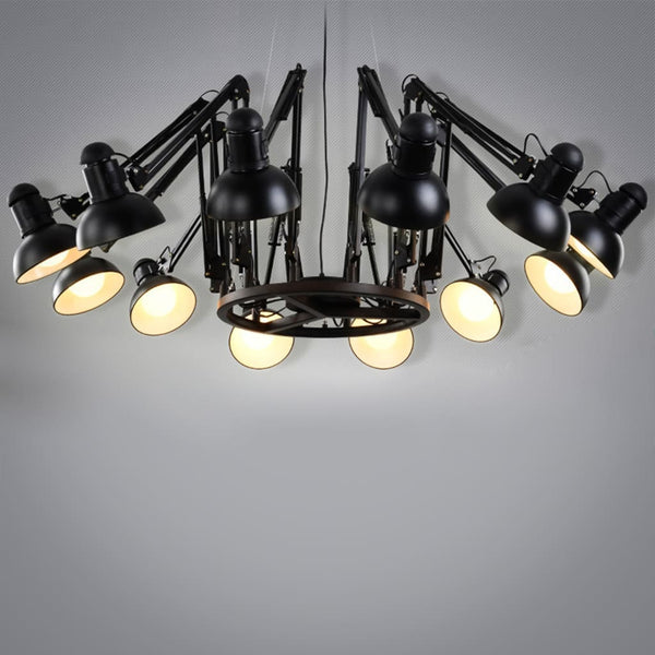 Nordic Living Room 9-12 heads Spider Chandelier - The Black Steel