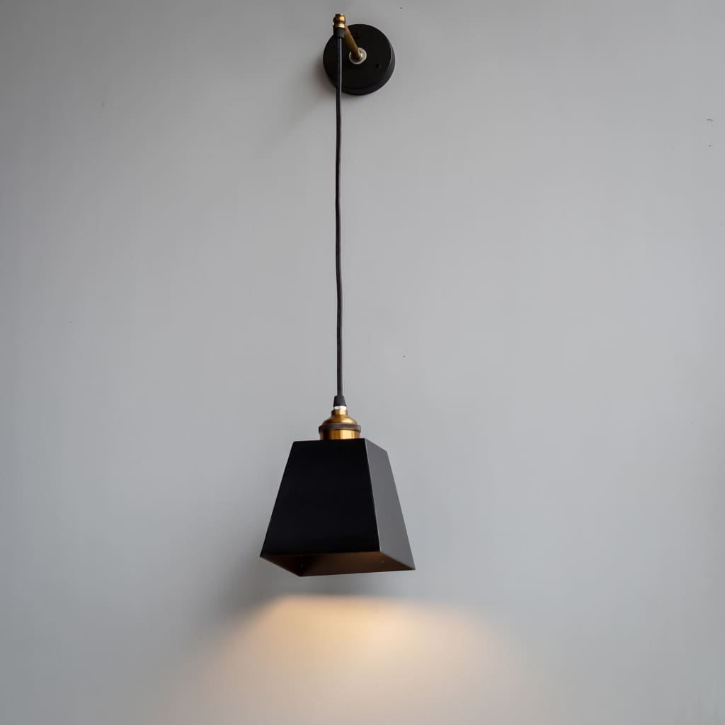 Cws115 Obsidian Black Gold Trapezium Metal Wall Hanging Lamp The Black Steel