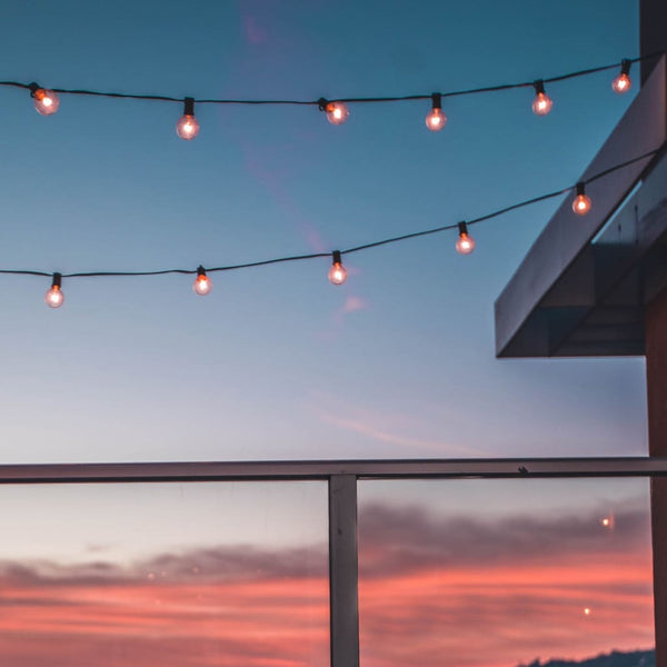 Outdoor Balcony Terrace String Lights - The Black Steel