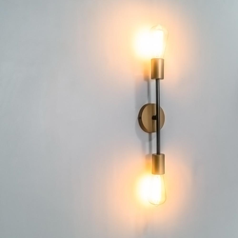 Parisienne 2 Bulb Wall Light Lamp - The Black Steel