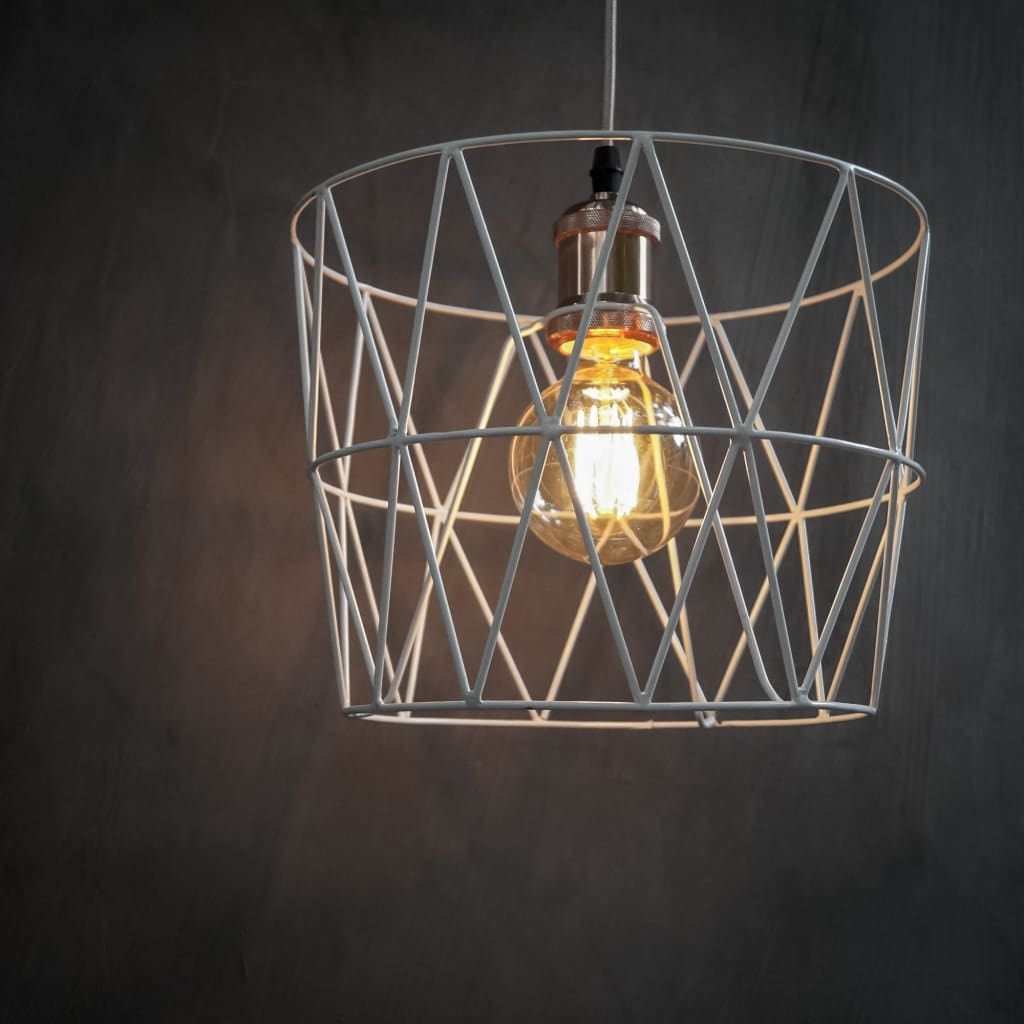 Quintessential White Wire Hanging Cage Lamp Pendant Lighting - The Black Steel