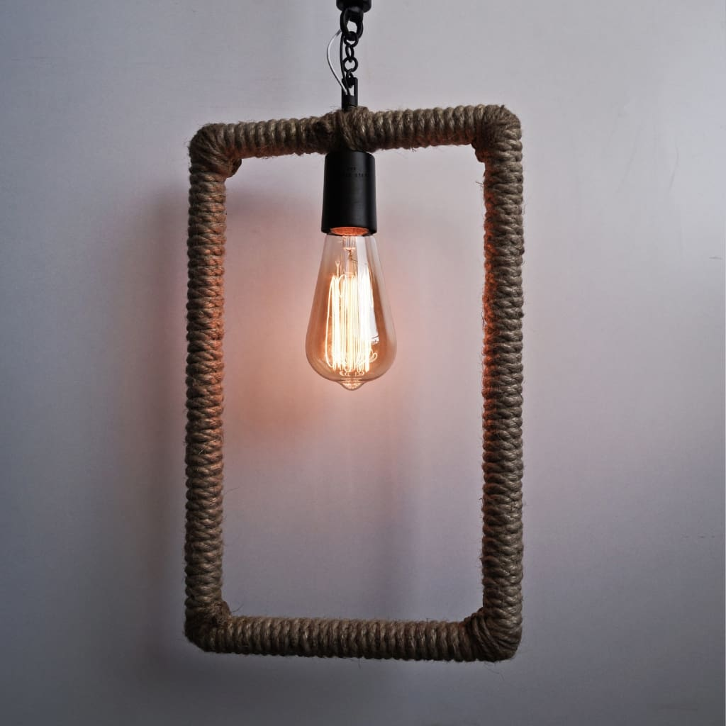 Rectangle Industrial Rope Pendant Ceiling Lamp