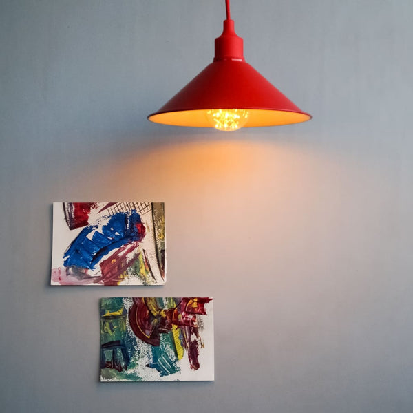 Red Cone Shape Hanging Lamp For Minimal Decor - The Black Steel