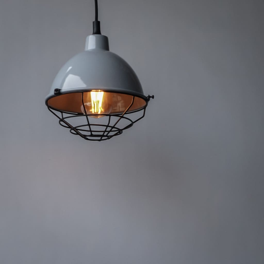 Retro Modern Grey Pendant Industrial Lighting Fixture - The Black Steel