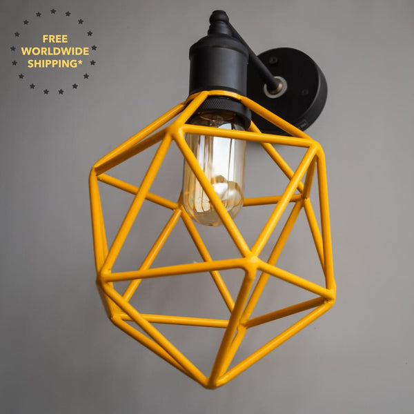 Ridgemont Geometric Yellow Wallchiere - The Black Steel