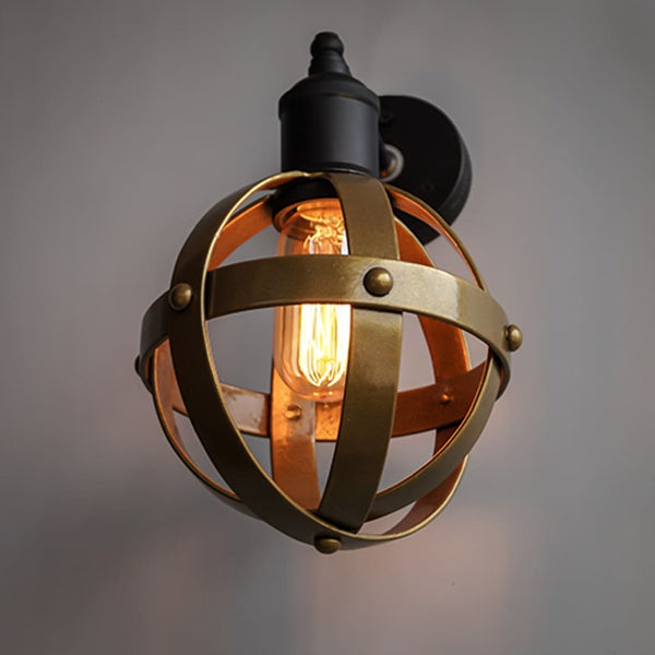 Riveted Antique Gold Wall Light Fixture Mid-Century Interior - The Black Steel
