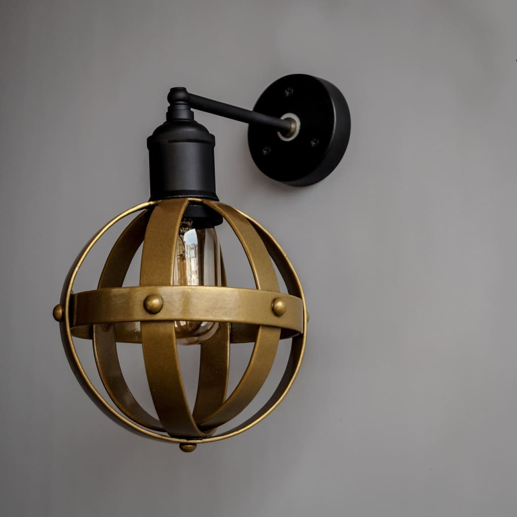 Riveted Antique Gold Wall Light Fixture Mid-Century Interior