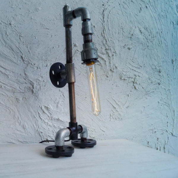 Robo Modern Industrial Style Pipe Floor Lamp - The Black Steel